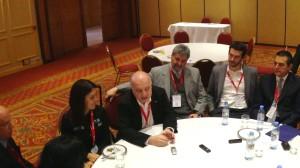 Lino Kieling (Brasil, en el bordecito izquierdo), Yolanda Martínez (México), José Clastornik (Uruguay), Sergio Blanco (Argentina), Andrés Arellano (Chile) y Leonardo Gannio (Aktio) en la conferencia de prensa, antes de la desbandada general.